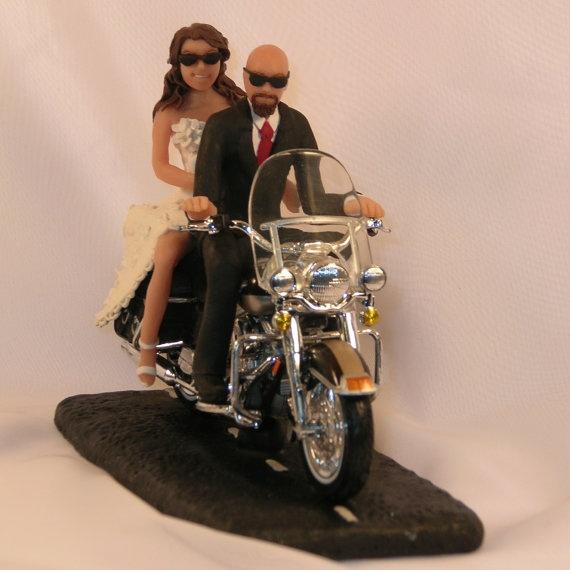 Motorcycle Wedding Cake Topper Bald Groom By