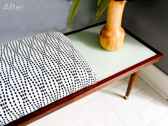 Before & After: A Mod Thrift Store Table-to-Bench Makeover!