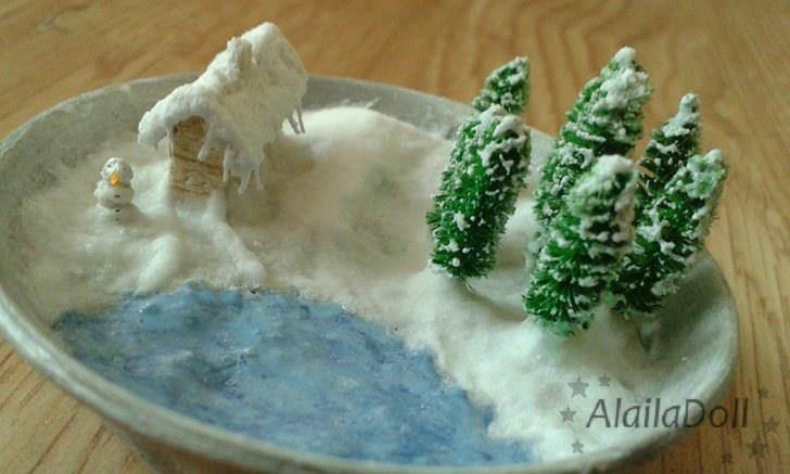 https://flic.kr/p/By61k9 | Handmade Miniature Christmas Scenery | Pot has a circumference 6 cm (2.4 inch), high 1,5 cm(0.6 inch).  Height of the highest tree is about 2 cm (0.8 inch) Height of cottage is 1,5 cm (0.6 inch)  Height of snowman is 0.5 cm (0.2 inch).