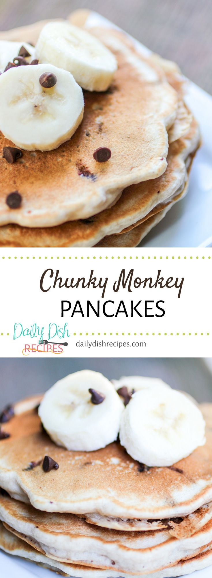 Who doesn't love bananas and chocolate? Chunky Monkey Pancakes are flavorful and delicious. We just stir the bananas and chocolate right into some fluffy pancake batter, and you've got perfection. We enjoyed them for a 'breakfast for dinner' with turkey sausage, bacon and eggs. Delish (and very very filling!) via @dailydishrecipes