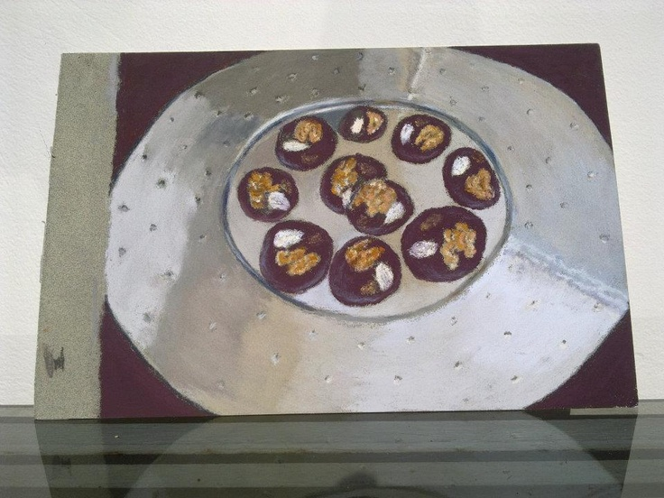 """""""Disk with chocolates in a Piano hall""""  It is a small 61/2 by 8 pastel on La Carte (Sennelier) with a few pastel sticks Sennelier and carbothello pencils."""