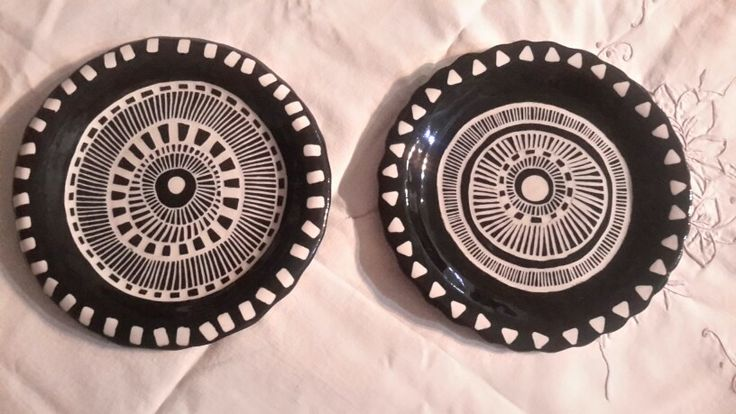 Pair of my black sgrafitto side plates
