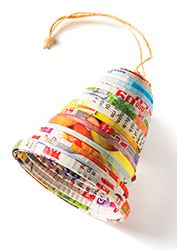 Recycled paper christmas bell decoration