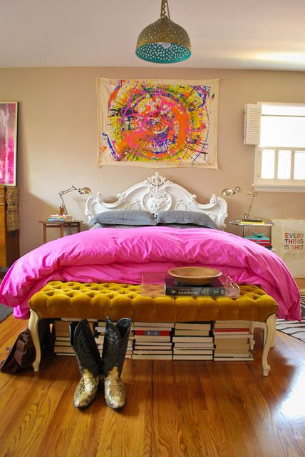 St Louis Designer S. Rohde Hill Apartment Therapy Home Tour - colorful bedroom, mustard, pink, spin art, Rococo headboard
