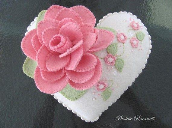 Flowery Felt Heart Pillow by Beedeebabee on Etsy, $48.00