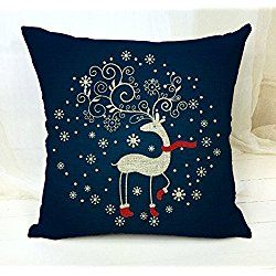 4TH Emotion Christmas Blue Deer Cotton Linen Square Throw Pillow Case Decorative Cushion Cover Pillowcase Cushion Case for Sofa (#31,hot)