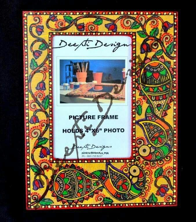 Madhubani photos frame hand painted 5
