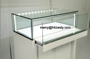 wood display showcases glass jewelry case