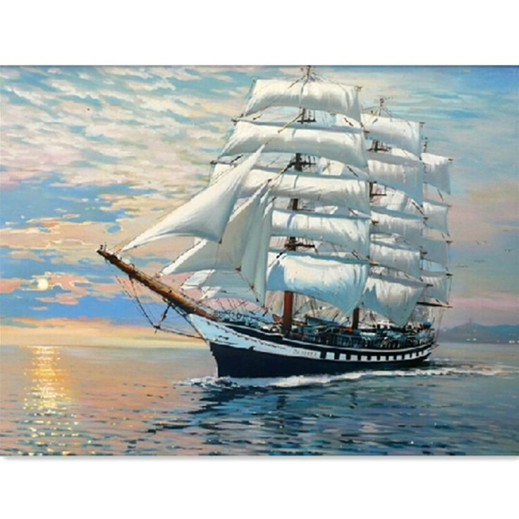 Sailing Digital Oil Painting DIY Oil Painting By Numbers Kits Frameless Canvas Wall Decor Gift 40x50cm