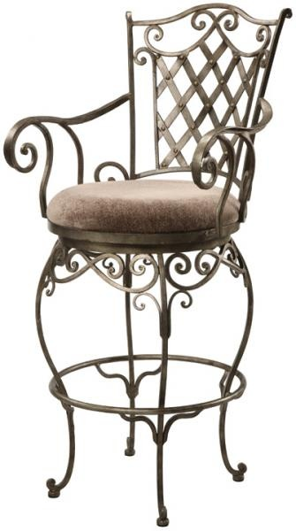 Ambella Home uses high quality materials such as wood, mable, granite, stone, iron, metal, glass, fabrics and different types of hardware on its pieces. The results are very easy to see when you look at one of their outstanding pieces. Lattice Barstool, Dining Room Pieces, Ambella Home Collection and Best Designs.    Wrought iron barstool boasting scrolled arms, delicate legs, a lattice designed back, and a fabric seat.