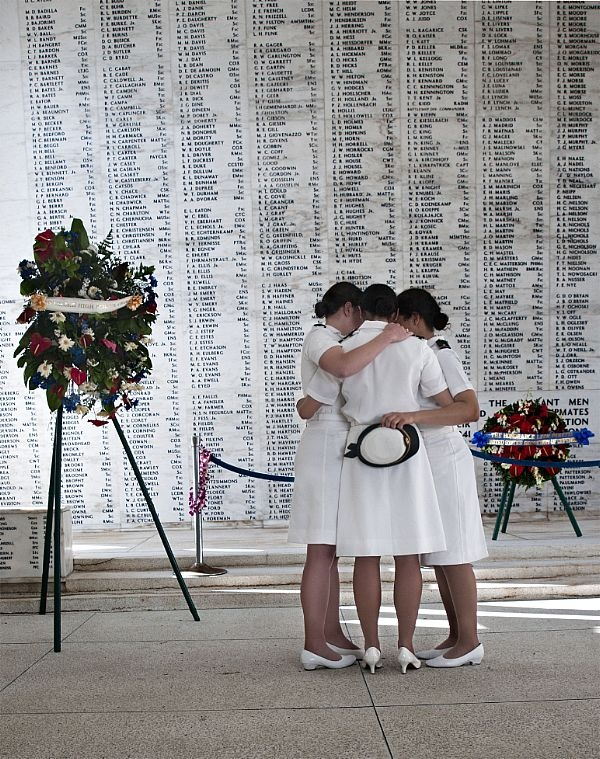US Navy Academy Women's Glee Club at the USS Arizona Memorial at Pearl Harbor