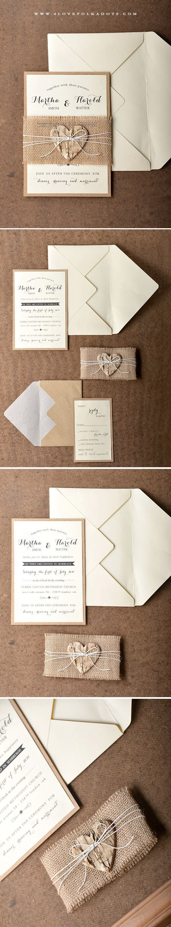 Handmade wedding invitations with birch bark heart