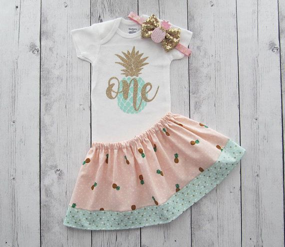35cd71586f6c Pineapple First Birthday Outfit in pink