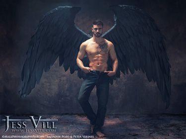 man fallen angel large black wings