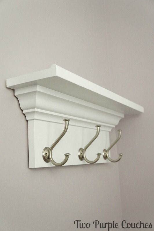 """Finished Shelf - made with 1""""x6"""", 1""""x8"""", half-round and crown moulding. via www.twopurplecouches.com"""