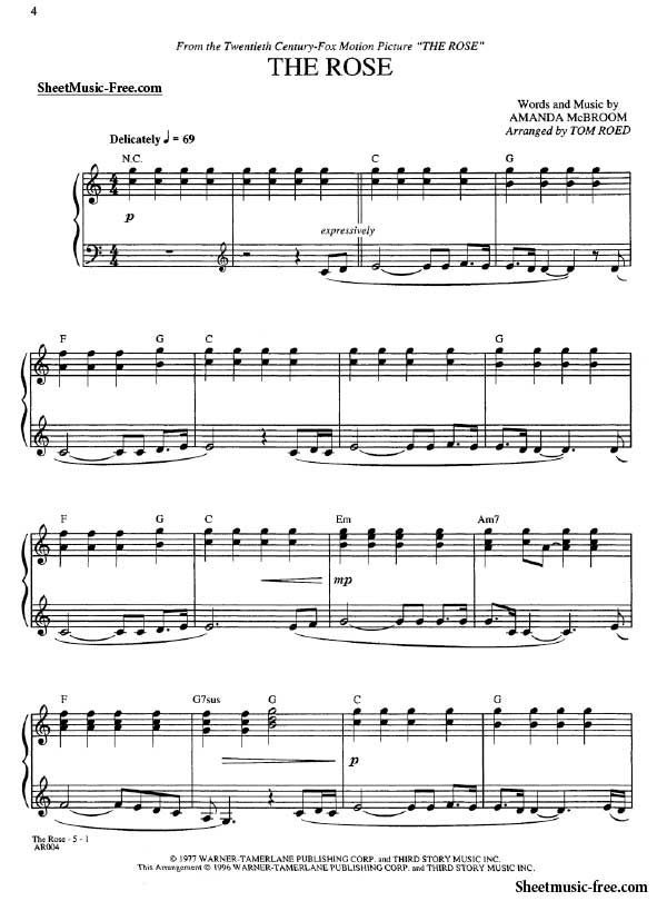 The Rose Sheet Music Amanda Mcbroom Dengan Gambar
