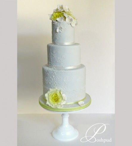 Poshpud | Malone; blue and yellow wedding cake; sugar flowers