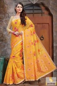 Orange Color Kota Checks Saree India #saree, #designersaree more: http://www.pavitraa.in/catalogs/traditional-wear-designer-sarees-for-festivals/?utm_source=rn&utm_medium=pinterestpost&utm_campaign=13jun