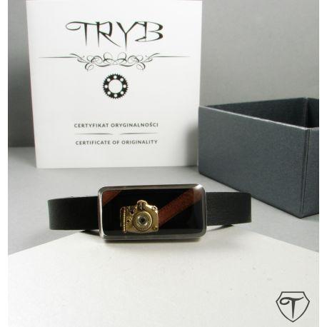 Clockwork analog camera - stainless and natural leather bracelet by TRYB #clockwork #camera #handmade #bracelet