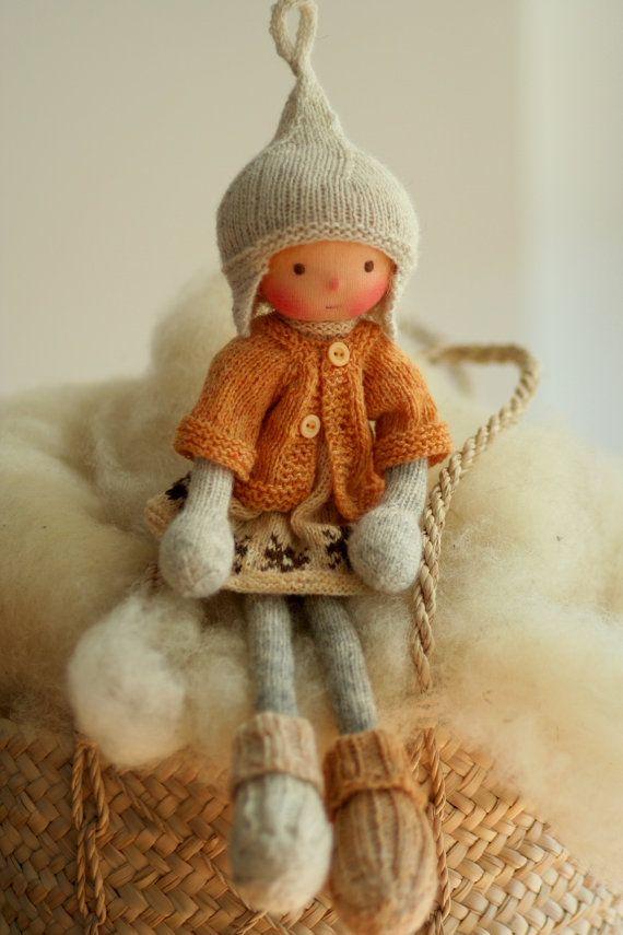 Waldorf doll Soft doll Knitted doll Carmel by PeperudaKnittedDolls