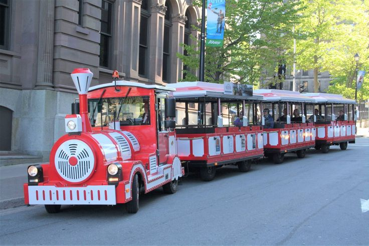 Hop Aboard Hali the Road Train, a community road train that, for a donation of $2 - $5 will take you around downtown Halifax in a continuous half-hour loop.