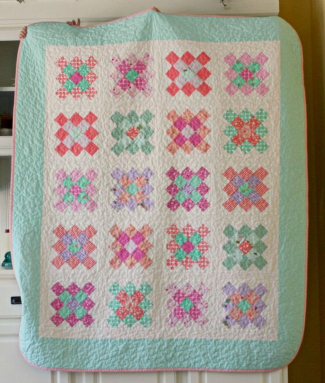 Blue Elephant Stitches' Granny Square Quilt featuring Posy by Aneela Hoey. Pattern on the Moda Bake Shop!