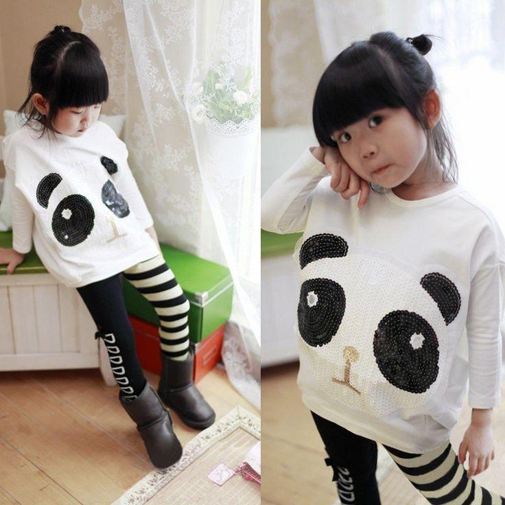 Дети одежда Panda рукава в форме крыла летучей мыши T рубашка + полоска леггинсы девочки одежда весна осень дети одежда комплекткупить в магазине Five Star Outlet наAliExpress