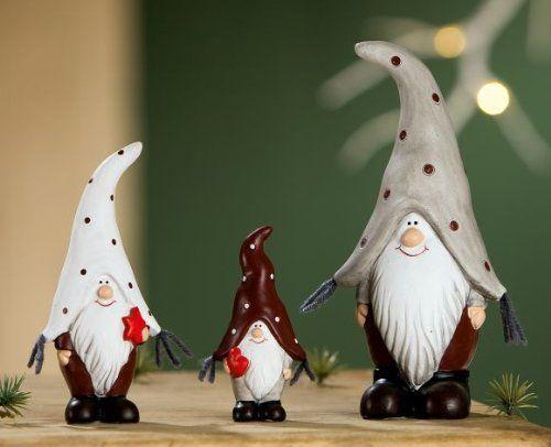 Deko Zwerg Keramik Fred grau rot weiß 15cm, 9 Stück: Amazon.de: Bürobedarf & Schreibwaren