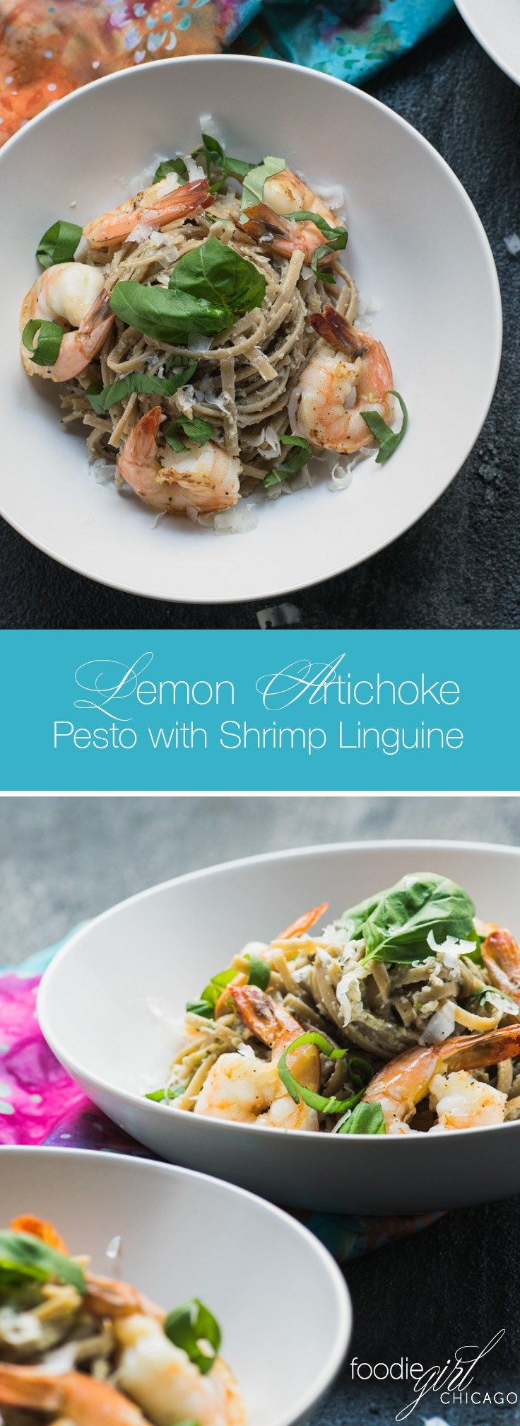 There are so many possibilities when it comes to Lemon Artichoke Pesto – I just love it with this garlic shrimp and linguine!