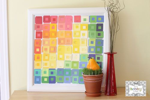 the hobby room: Layered Paint Chip ArtLayered Painting, Wall Hanging, Paint Chips, Room Diaries, Paint Chip Art, Hobbies Room, Art Tutorials, Art Projects, Painting Chips Art