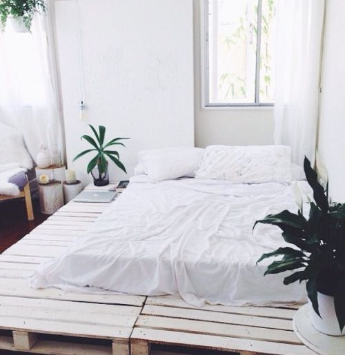 Simple platform bed idea, I'd change the color of the pallet to add a pop of color to the room