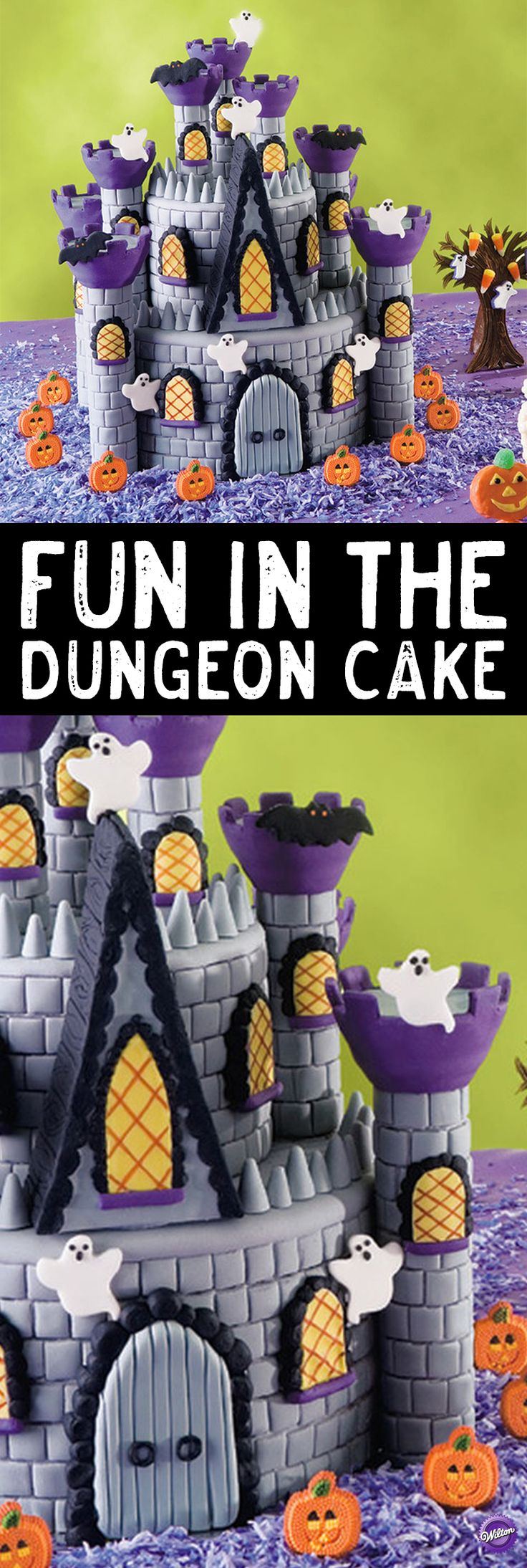 "Learn to make this ""Fun in the Dungeon Cake"" that captures the ghostly glow of a Transylvanian twilight. Great details pop up from every corner, including fondant masonry, lattice windows, hovering ghosts and bats in the belfry. It serves as a great centerpiece for your Halloween gathering."