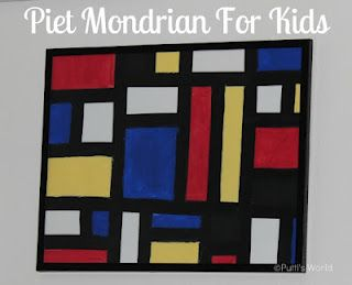 A Pinner said: Piet Mondrian for Kids - paints and black tape-- did this with the kids today and they enjoyed it. LOVE the results!