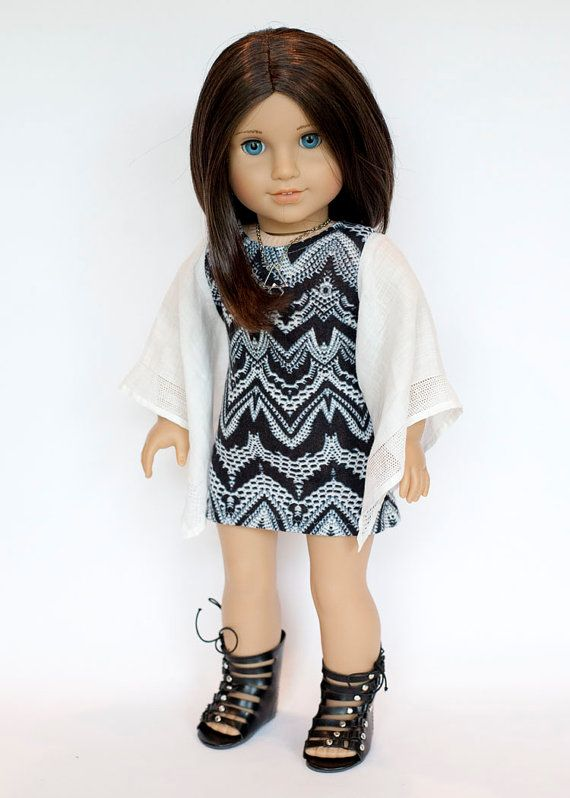 Boho Tunic Dress with vintage hankie sleeves, and Greek Sandals for AG dolls by EverydayDollwear on Etsy $24.00