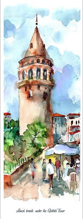 Lunch break under the Galata Tower Painting by Faruk Koksal - Lunch break under the Galata Tower Fine Art Prints and Posters for Sale