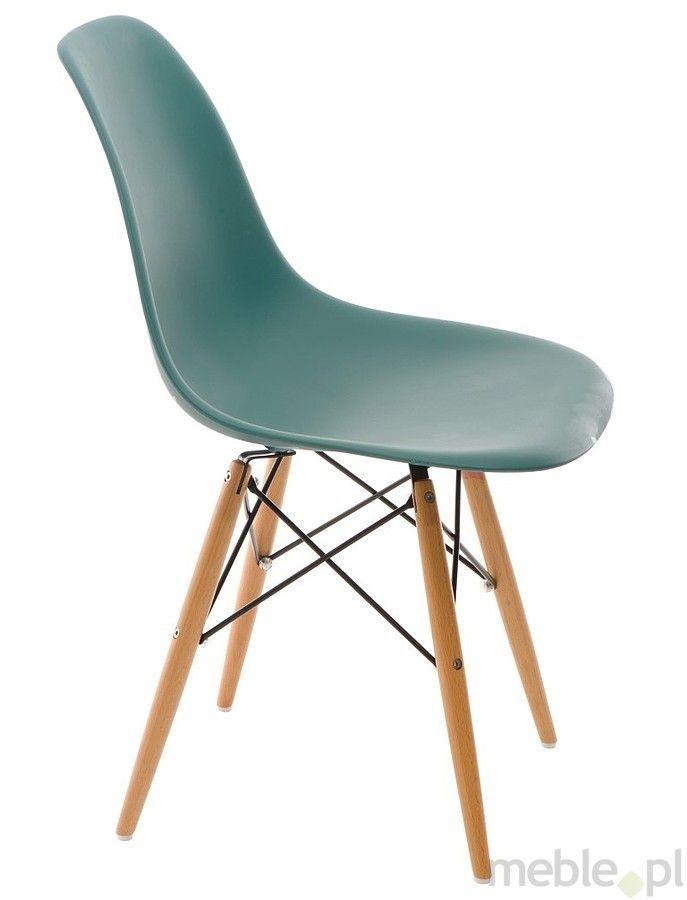 Krzesło P016W PP navy green, drewniane nogi, Dkwadrat - Meble