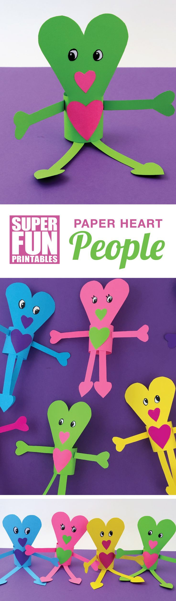 Paper heart people printable Valentines Day craft idea for kids