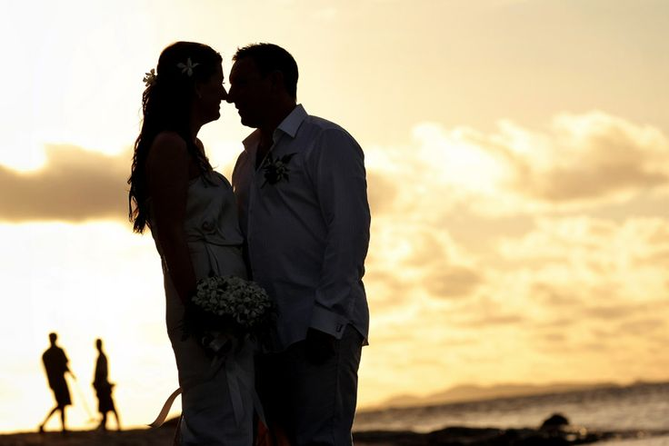 Bride & Groom + beach sunset