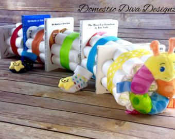 Diaper Bouquet Blue Baby Boy Diaper by DomesticDivaDesignz