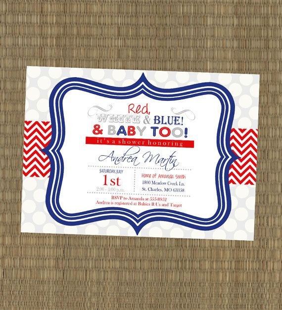 Printable 4th Of July Shower Invitation Party Invite Red White