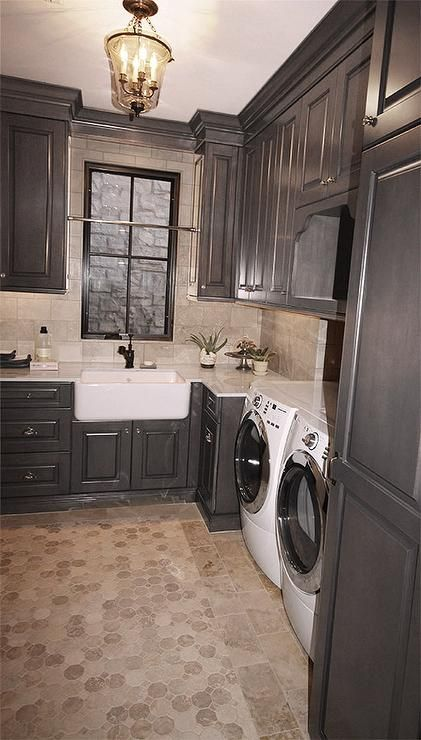 Black Laundry Room Cabinets Transitional Laundry Room
