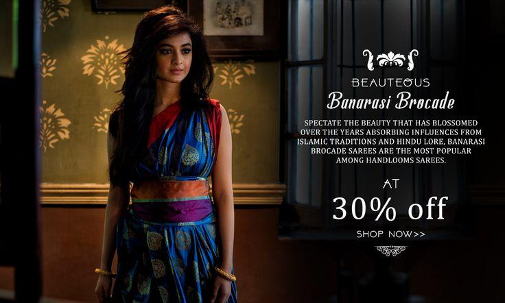 A MUST HAVE: Authentic Banarasi Brocade sarees at 30% discount!