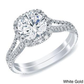 @Overstock - Auriya 14k White or Yellow Gold 1 4/5ct TDW Round Halo Diamond Engagement Ring