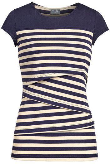 Striped solid yoke nursing top | Navy - www.milkandbaby.com