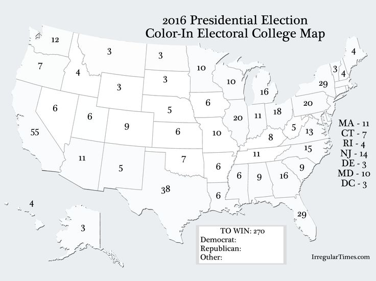 Color In Presidential Election Color In Electoral College Map