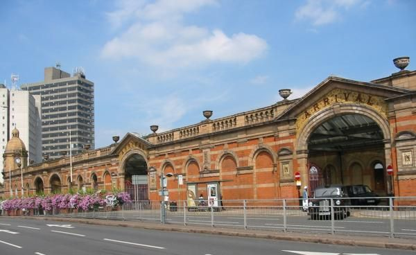 Leicester train station. With' blue' building in the background before it was blue...