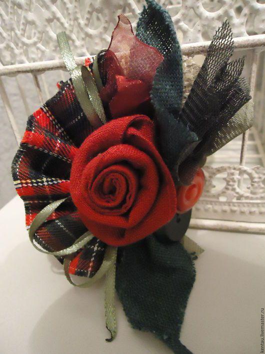 """Броши ручной работы. Ярмарка Мастеров - ручная работа. Купить Брошь """"Шотландская роза"""". Handmade. Ярко-красный"""