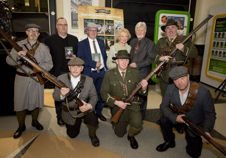 Ruan O'Donnell, Lorcan Collins, Meda Ryan and Michael O'Brien with some 1916 re-enactors in the GPO