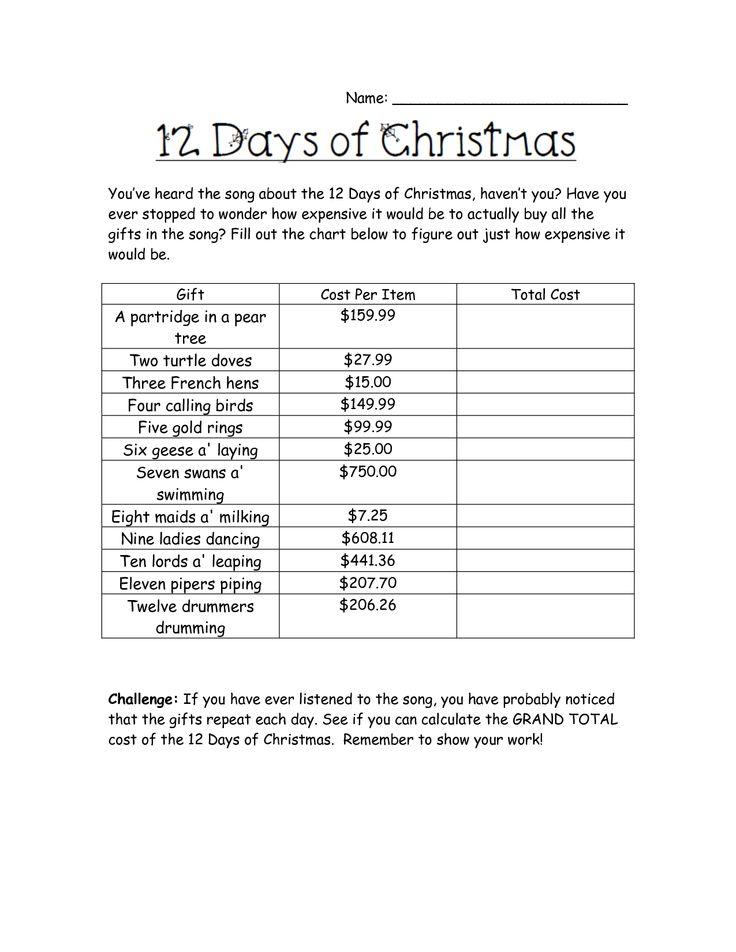 10 best Math images on Pinterest   Christmas math worksheets ...