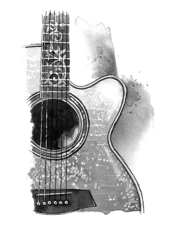 Acoustic Guitar  print by ashleysilvernell on Etsy, $15.00